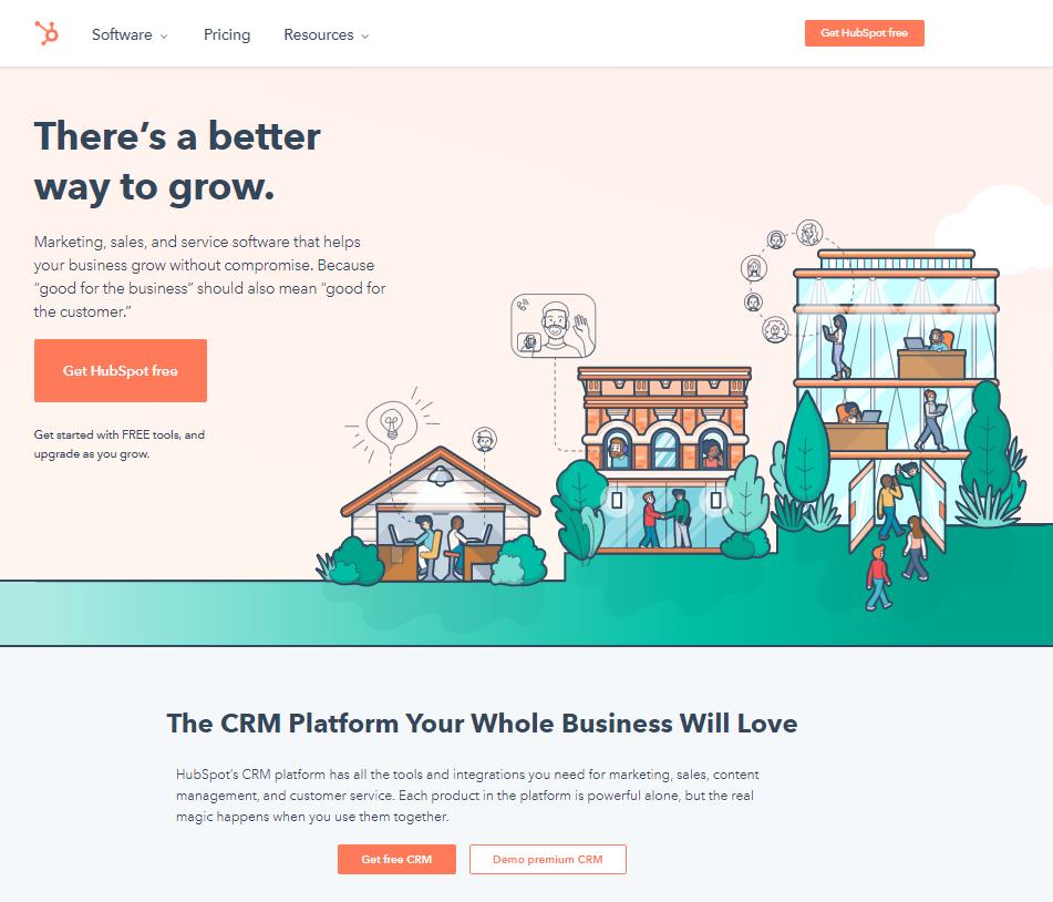 HubSpot create copy light homepage