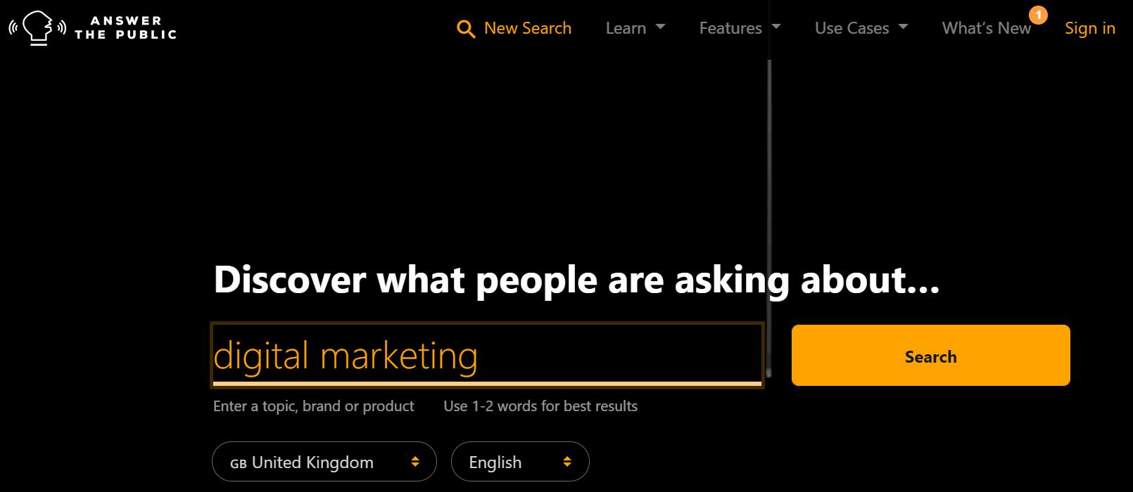 input your topic in searchbar